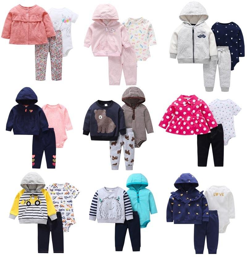 2019 Newborn Baby Girl Boy Clothes Sets Infant Baby Romper Fleece&Cotton Tops Coat+Romper+Pants 3PCS Jumpsuit Clothes Outfit Set