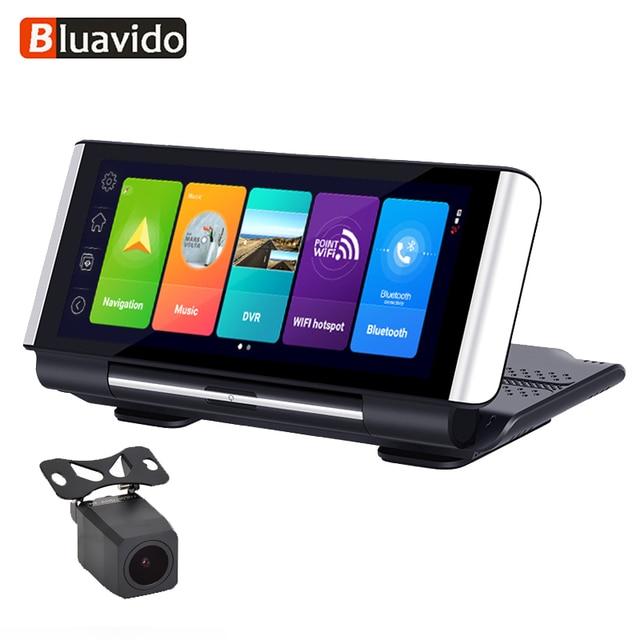 Bluavido 7 inç 4G ADAS Android araç kontrol paneli DVR GPS navigasyon FHD 1080P çift Lens Dash kamera G sensörü araba video kaydedici