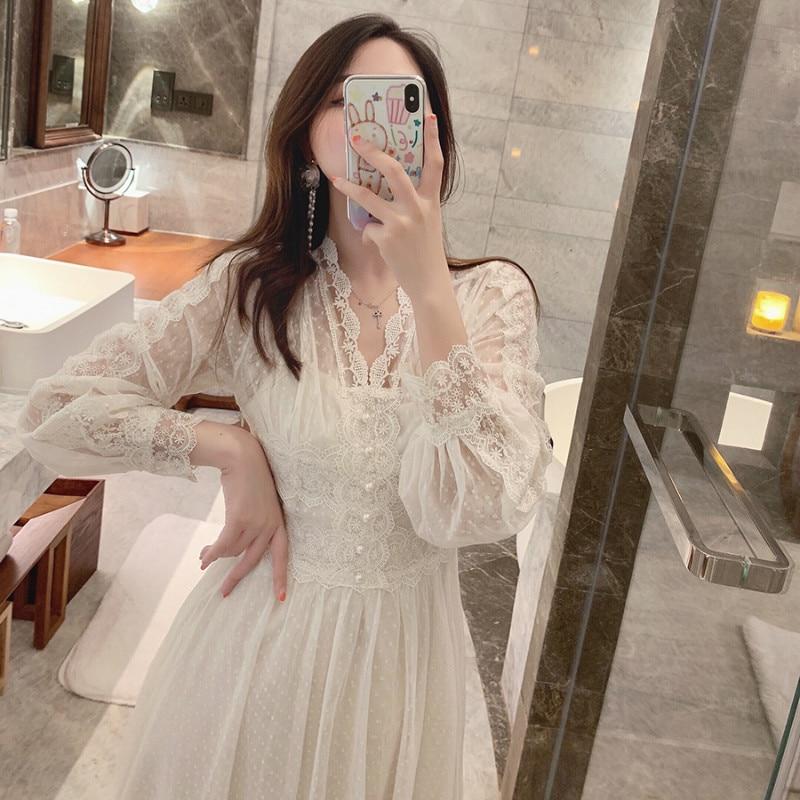 2019 Brand New Women Lace Dress V-neck French Retro Style Long Sleeve Elegant Midi Dress High Quality Party Dress Vestidos