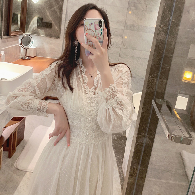 2019 Brand New Women Lace Dress V-neck French Retro Style Long Sleeve Elegant Midi Dress High Quality Party Dress Vestidos