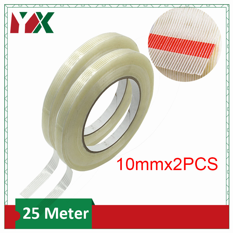 YX 2Rolls 10mm Transparent Fiberglass Tape Striped Single Side Adhesive Tape For Industrial Strapping Packaging Fixed