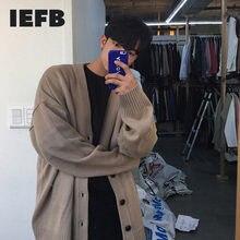 IEFB – Cardigan tricoté pour homme, manteau ample, col en v, simple boutonnage, couleur unie, nouvelle collection printemps automne 2021, 9Y3266