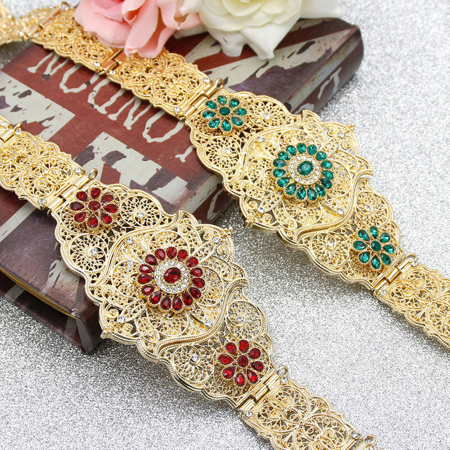 SUNSPICEMS Chic Caftan Abaya Belt Gold Color RedGreen Stone Women Wedding Kaftan Metal Waist Chain Morocco Caucasus jewelry Gift