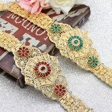 SUNSPICEMS şık Kaftan Abaya kemer altın renkli RedGreen taş kadınlar düğün Kaftan Metal bel zinciri fas kafkas takı hediye
