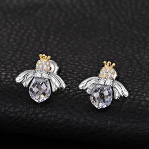 Image 2 - Jewelrypalace Crown Bee Zirconia Stud Oorbellen 925 Sterling Zilveren Oorbellen Voor Vrouwen Koreaanse Oorbellen Fashion Sieraden 2020