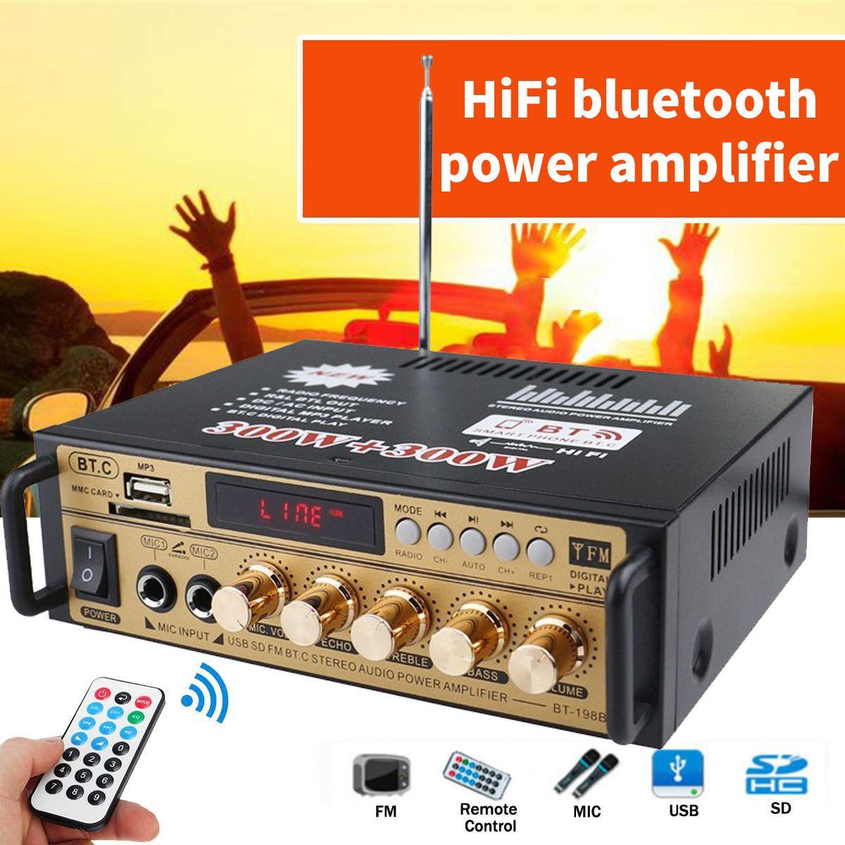 Bluetooth Мощность стерео аудио усилитель 300 Вт + 300 Вт 2 канальный цифровой FM радио USB SD домашний KTV Кино радио Музыкальный плеер усилитель класса D...