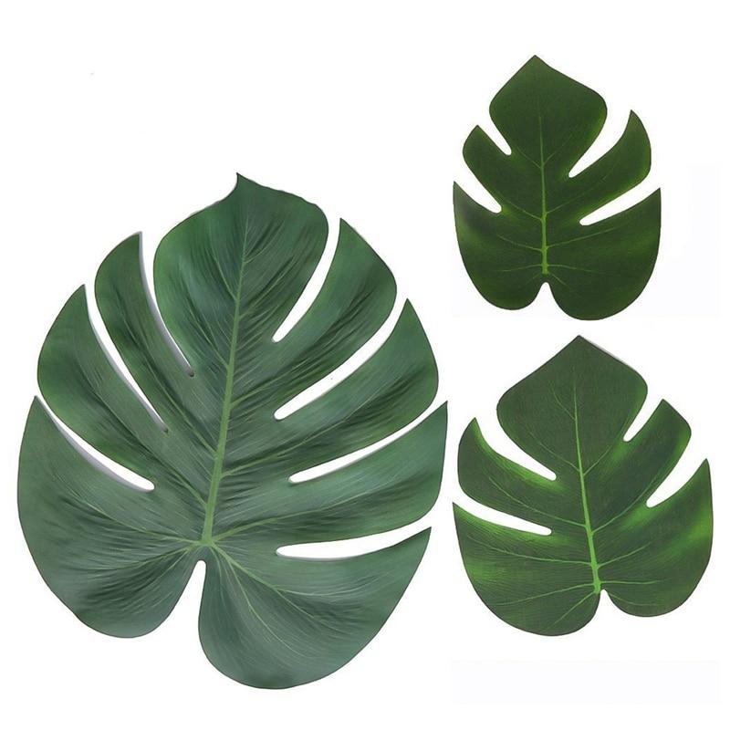 Artificial Fake Monstera Palm Leaves Leaf-shaped Green Plants Wedding DIY Decoration Cheap Flowers Arrangement Plant Leaf