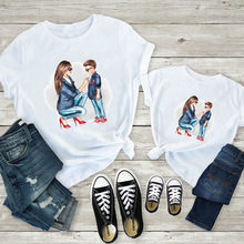 Mom and Kids Print Family Matching Clothes Mommy and Me Clothes White T-shirt Mother and Son Clothes Family Look Top