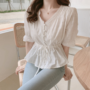 new Embroidery  Shirt Summer White Blouses Women Tops femme Casual Women half sleeve Girls Blouse Linen Cotton Lace up New 1