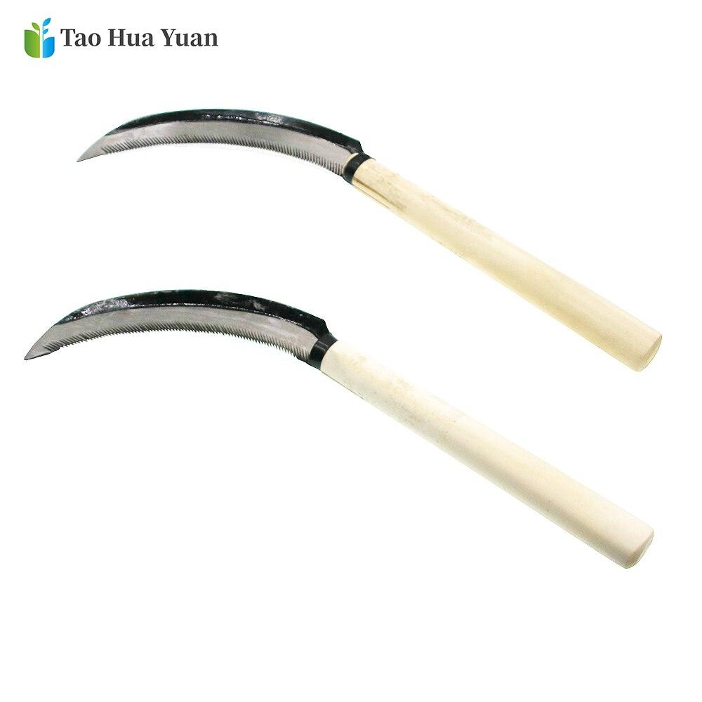 Lightweight Gardening Grass Sickle Manganese Steel Sharp Wooden Handle Hand Sickle Hand Scythe For Weeding Garden Tool AA