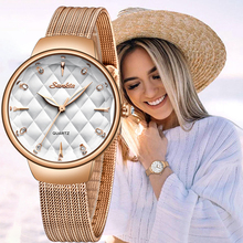 SUNKTA Brand Luxury Watch Women Fashion Dress Quartz Wrist Watch Ladies Stainless Steel Waterproof Watches Relogio Feminino+Box
