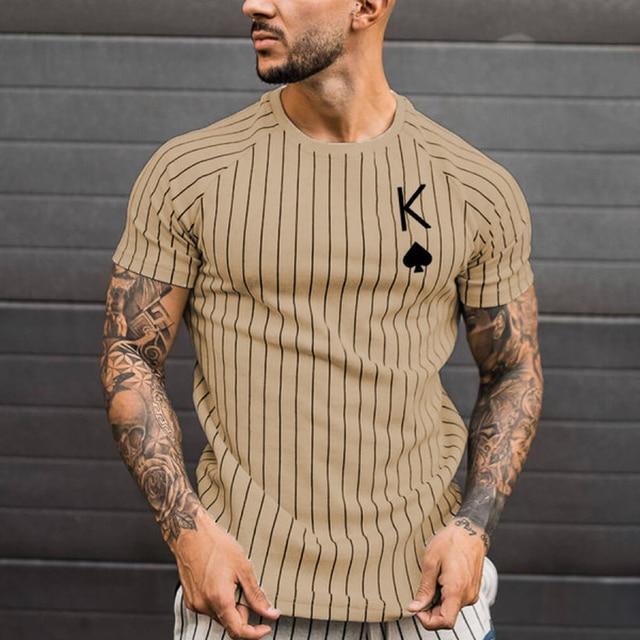 Men's T-Shirt Striped T-Shirt Round Neck Shirt Fashion Poker Print Short Sleeve T-shirt Top Summer Men's Clothing Street Wear 2