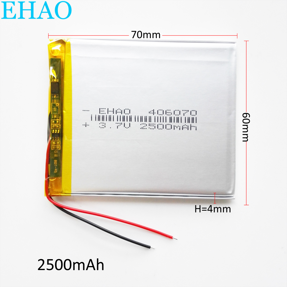EHAO <font><b>406070</b></font> 3.7V 2500mAh Lithium Polymer LiPo Rechargeable Battery For PAD GPS Vedio Game E-Book Tablet PC Power Bank image