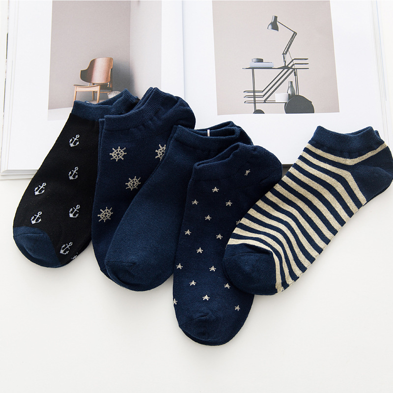 Men's Navy Style Socks Fashion Stripe Anchor Fun Men's Summer Sock Boat Socks, Comfortable Cotton Socks