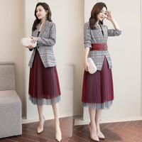 New 2019 Fashion Women Plaid Blazer Mesh Pleated Skirt Set Ladies Red Formal Blazer Jacket Skirt Suit