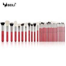 BEILI الأحمر 30 قطعة مجموعة فرش ماكياج المهنية فرشاة شعر طبيعي أدوات ماكياج الأساس مسحوق أحمر الخدود الحاجب هيغليغتر