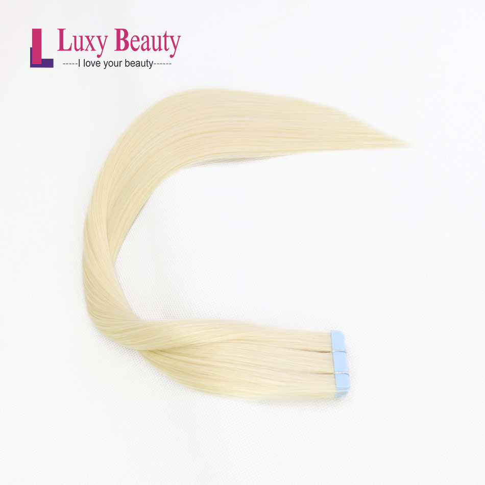 LuxyBeauty Tape In Remy Hair Extensions Platinum Blonde 1.5g/pc Human Hair Straight Sided Skin Weft Hair On Adhesives 14