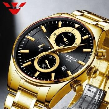 NIBOSI 2020 Fashion Stainless Steel Mens Watches Top Brand Luxury Business Luminous Chronograph Quartz Watch Relogio Masculino - discount item  80% OFF Men's Watches