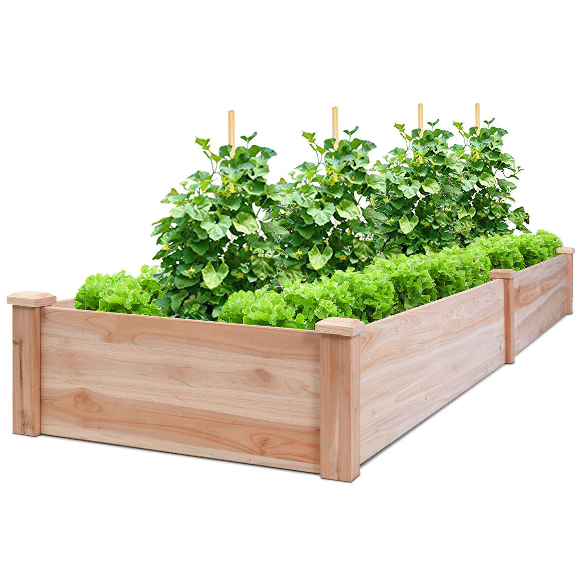 Costway Wooden Vegetable Raised Garden Bed Backyard Patio Grow Flowers Plants Planter