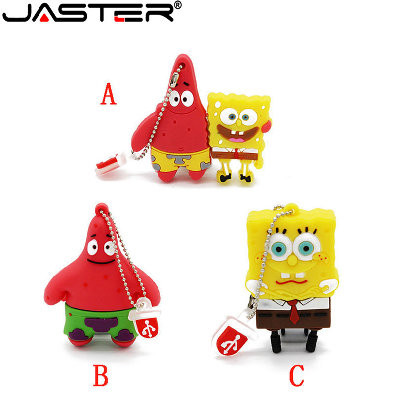 JASTER Sponge Bob Usb Flash Drive Cartoon Patrick Star&Sponge Bob Pendrive USB2.0 Flash 4GB/8GB/16GB/32GB Memory Stick