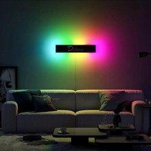 Minimalismo rgb conduziu a lâmpada de parede para o quarto cabeceira, casa decoração parede luz colorida sala estar interior festa luminárias