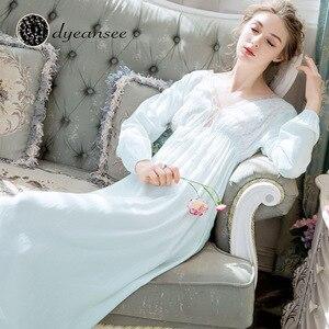 Image 4 - Dyeansee Vintage blanc longue chemise de nuit femmes robes de nuit princesse maison robe coton chemise de nuit col en v à manches longues vêtements de maison