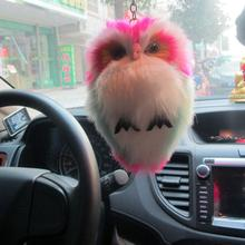 15cm Faux Fur Fluffy Owl Keychain Keyring Bag Purse Car Pendant Ornament Car Keyring Pompom Key Chains Women Bag Pendant Jewelry