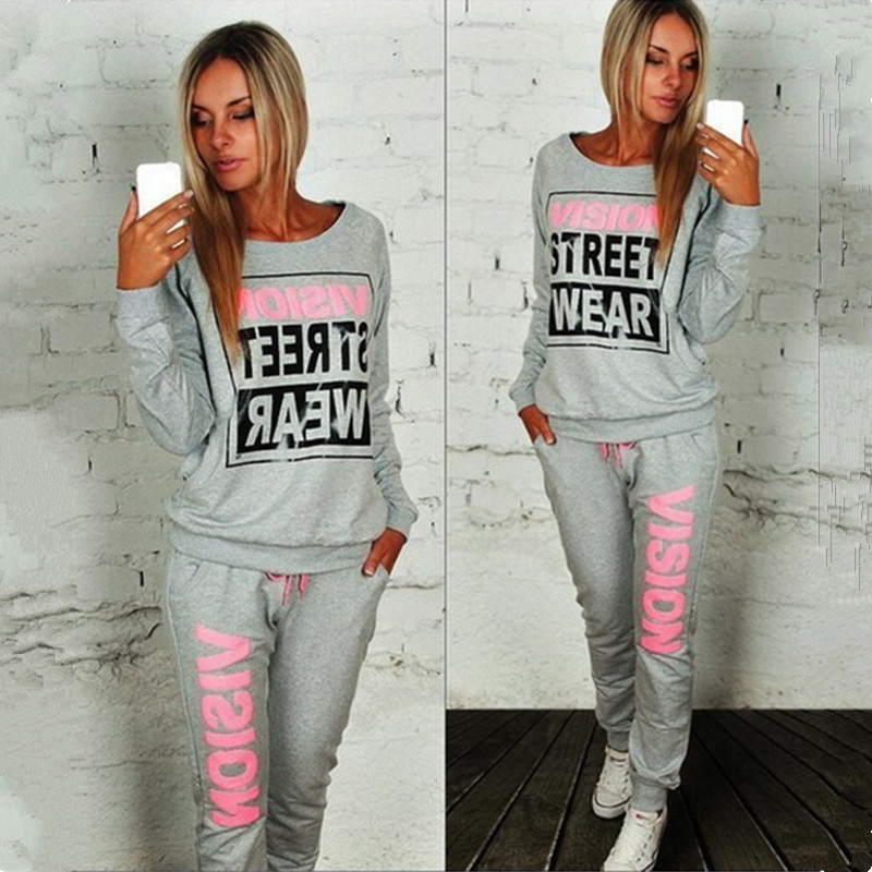 Women's Sets Letter Print 2pcs Casual Tracksuit Suits Sweatshirt Sport Trouser 2 Piece Suit Autumn Winter 2pcs Female Streetwear