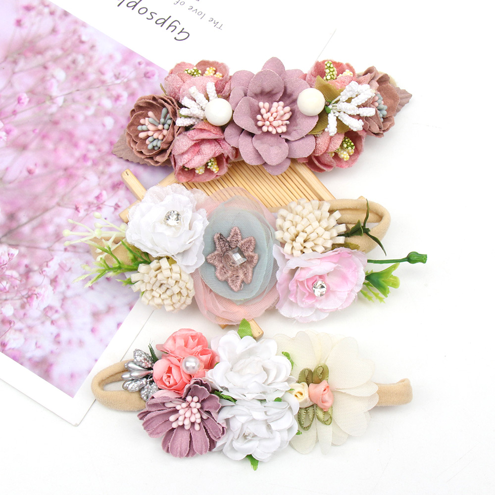 1 Pc Artificial Flowers Headband For Infants Nylon Head Bands Newborn Baby Headbands Elastic Headdress Hair Accessories