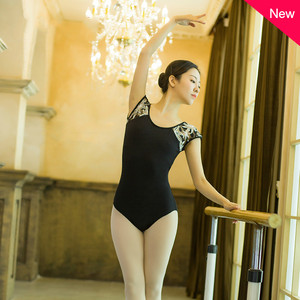 Image 3 - Adult Black Lace Patchwork Ballet Dancing Leotards Women Printing Back Button Gymnastics Dance Yoga Leotard