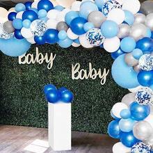 134 adet mavi balon Garland Arch kiti beyaz gri mavi konfeti lateks balonlar bebek duş düğün doğum günü partisi süslemeleri