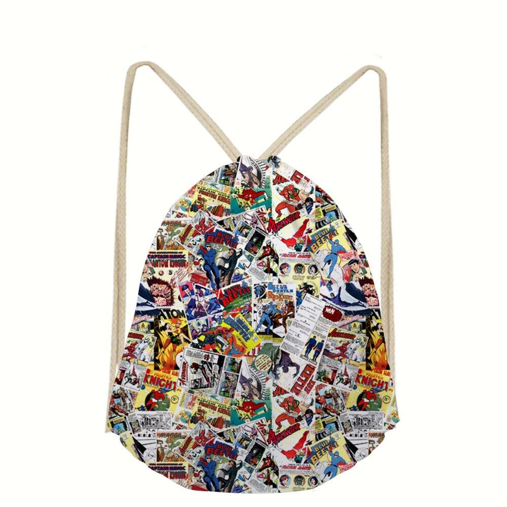 WHEREISART Vintage Comic Book Heroes Drawstring Bag 3D Girl Boys Backpack Shoes Package Pouch Dropshipping Custom Mochila Bolsa