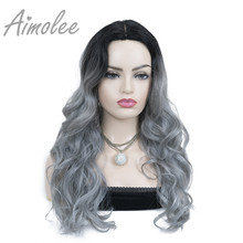 Aimolee Women's Ombre Wigs Hair grey blue Color Synthetic Natural Long Curly