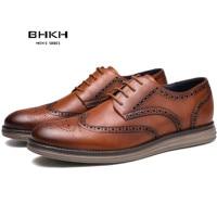 BHKH 2021 Autumn Man Dress Shoes Genuine Leather Lace-up Men Casual Shoes Smart Business Office work Footwear Men Shoes 1