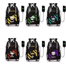 Jogo arco-íris seis cerco lona mochila adolescente estudante saco de escola moda anime livro saco do portátil para adolescentes