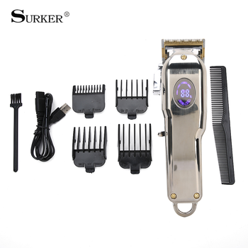 Surker Hair Trimmer Professional Digital Electric Hair Clipper USB Rechargeable Cordless Men Hair Cutting Machine Beard Shaver
