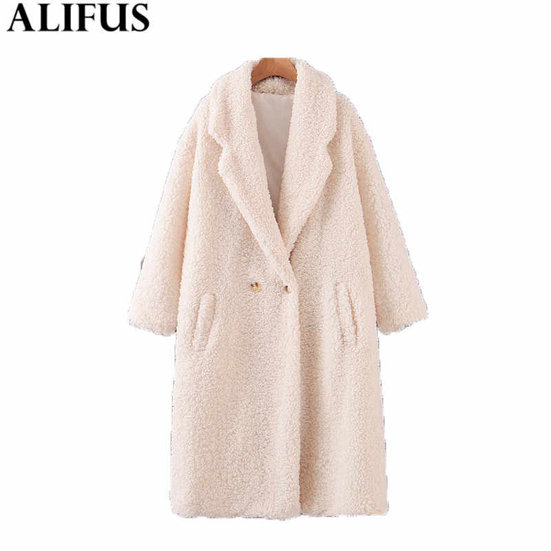 Fashion Za Women Coat 2019 Casual Thick Faux Fur Coats Double Breasted Long Sleeve Laple Collar Outwear Jacket Female Ladies