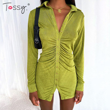 Tossy 2021 Spring Shirt Dress With Ruched Sexy Turn-Down Collar Long sleeve Mini Dress Casual Streetwear Female Designer Dresses