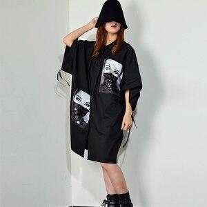 Image 3 - [XITAO] فستان بطبعة مطرزة بمقاسات كبيرة للنساء بياقة مقلوبة مُزين برسومات واحدة ملابس للنساء 2019 جديد XJ1509