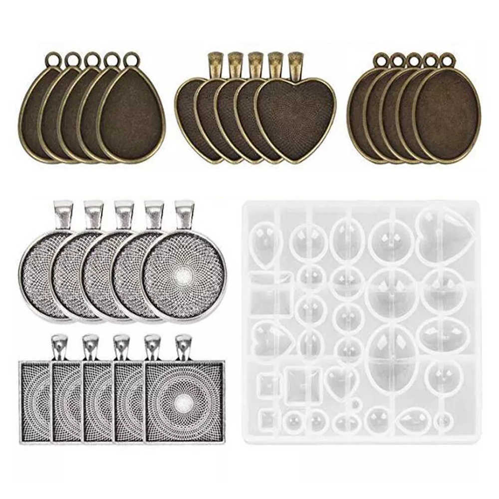 31Pcs Sieraden Mold Siliconen Hars Mallen Crystal Craft Kit Shiny Accessoires Mallen Ovaal Shape Mould Voor Diy Hanger maken
