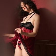 Sexy Nightgowns Summer Lace Thin Plus Size Suspender Nightdress Women Lingerie Sleepwear Front Botton Split Dress with Panty