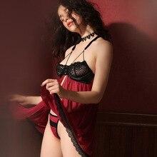 Váy Ngủ Gợi Cảm Mùa Hè Ren Mỏng Plus Kích Thước Suspender Váy Ngủ Nữ Quần Lót Đồ Ngủ Mặt Trước In Hình Botton Chia Kèm Quần
