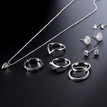 NJ Silver Bracelet Necklace Earrings 9 Pieces/Sets Rings For Woman Female Set Party Jewelry