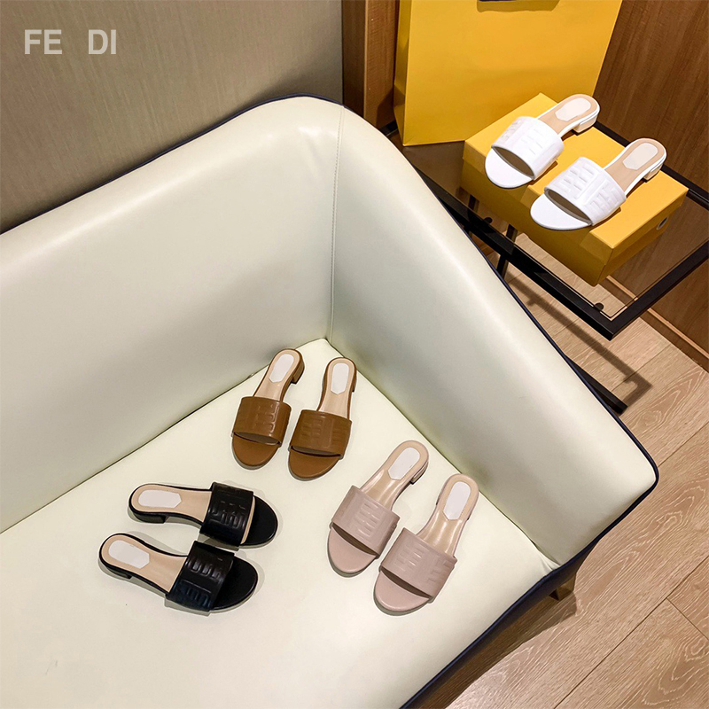 2021 Classic Hot Women Slippers 100% Genuine Leather Luxury Designer Brand Slippers Ladies Sandals Fashion Brand Flat Shoes