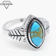 Women's Gemstone Black Ring Vintage Turquoise Tree Leaf Ring Festival Birthday Gift Jewelry