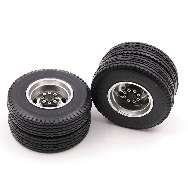 Rear Rubber Loader Wheels with Rims for <font><b>Tamiya</b></font> <font><b>1/14</b></font> Scale Tractor Rear, for <font><b>Tamiya</b></font> <font><b>1/14</b></font> <font><b>RC</b></font> Tractor Trailer <font><b>Truck</b></font> image