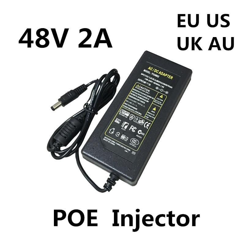Адаптер питания POE, 48 в пост. Тока, 2 А, 2000 мА, 96 Вт, для систем видеонаблюдения, Инжектор POE, Ethernet, IP-камера, телефон