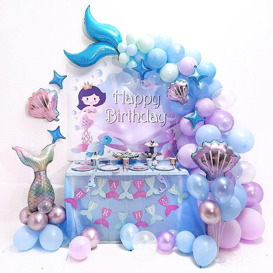 Mermaid Tail Set Balloon Little Mermaid Birthday Party Decor Under The Sea Girl 1st Mermaid Birthday Girl Baby Shower
