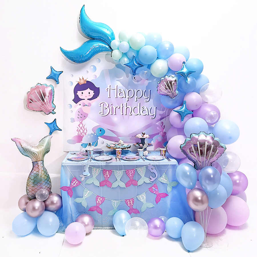 Mermaid Party Supplies,Under the Sea Party Mermaid Party Decor,1st Birthday, Under the sea Balloons Mermaid Party Mermaid Birthday Party