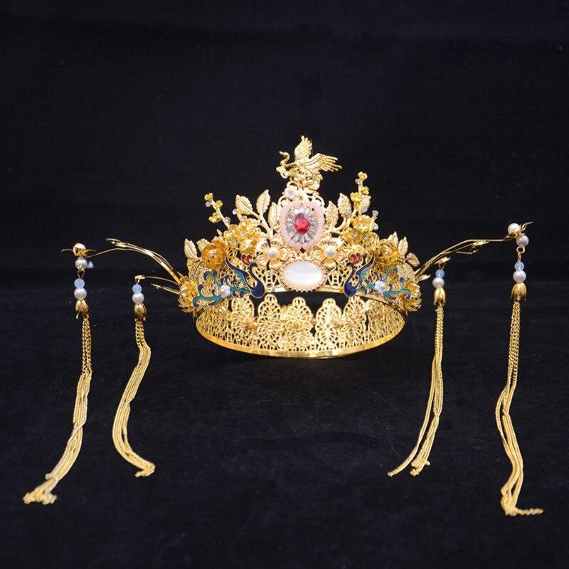 Ouro phoenix coroa coroa acessórios de cabelo chinês casamento noiva headdress rainha cosplay headwear princesa festa